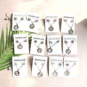 Jewelry - Zodiac Sign Stainless Steel Necklace Earrings Set